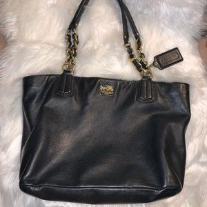 Vintage Black Leather Coach Bag